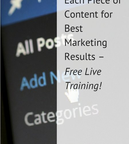 Maximize Each Piece of Content for Best Marketing Results – Free Live Training!